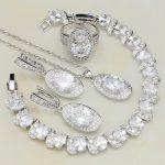 925 Sterling <b>Silver</b> Bridal Jewelry White Cubic Zirconia Jewelry Sets For Women Wedding <b>Bracelets</b>/Necklace/Pendant/Earrings/Ring