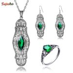 Szjinao Wholesale Emerald arty Jewelry Sets For Women Real 925 Sterling <b>Silver</b> Vintage Ring <b>Earring</b> Pendant