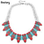 Bohemia Natural Stone Chokers Necklace For Women Vintage <b>Antique</b> Silver Plated Flower Pendant Fashion <b>Jewelry</b> TN409