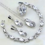 Classic White Mystic Rhinestone Sterling <b>Silver</b> Jewelry Sets For Women Wedding <b>Bracelets</b>/Necklace/Pendant/Earrings/Ring