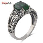 Szjinao Fashion women's Bohemian style ancient vintage <b>jewelry</b> 925 sterling <b>silver</b> emerald Rings wedding accessories