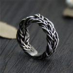C&R Real S999 Sterling Silver Rings for Men Braided Thorns Black Thai Silver Rings Opening <b>Handmade</b> Vintage Rings Fine <b>Jewelry</b>