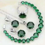 925 Sterling <b>Silver</b> Jewelry Green Birthstones White Zircon Jewelry Sets For Women Party Ring/Earring/Pendant/Necklace/<b>Bracelet</b>