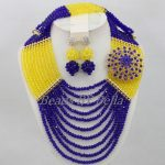 Nigerian Wedding Yellow Crystal Bead Necklace Royal Blue Bridal Jewlery Sets New African Beads Jewelry Set Free Shipping ABF868