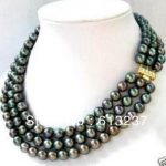 Fashion style 3 row 7-8mm cultured black akoya pearl <b>making</b> <b>jewelry</b> necklace MY4145