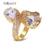 High Quality gold color <b>Jewelry</b> fashion rose flower design with big bright cubic zirconia crystal stones ring for women