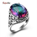 Szjinao Sale Charm Punk Heart Solid 925 <b>Sterling</b> <b>Silver</b> <b>Jewelry</b> Mystic Rainbow Topaz Ring For Women Valentine Day Gifts Party