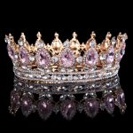 Hot sale New <b>Fashion</b> Elegant Pink Crystal Bridal crown classic Gold Tiaras for Women Wedding hair <b>jewelry</b> accessories