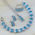 Sky Blue White Cubic Zirconia 925 Sterling <b>Silver</b> Jewelry Set For Women Wedding Stud Earring/Pendant/Necklace/<b>Bracelet</b>/Ring