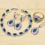 Round Green Cubic Zirconia White CZ 925 Sterling Silver <b>Jewelry</b> Sets Women Party Earrings/Pendant/<b>Necklace</b>/Rings/Bracelet