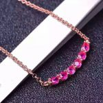 Natural red ruby stone Necklace natural gemstone Pendant Necklace S925 <b>silver</b> trendy Circular bubble array women party <b>Jewelry</b>