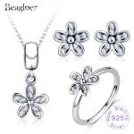 Beagloer 925 Sterling <b>Silver</b> Darling Daisies Necklace <b>Earring</b> Ring For Women Luxury Fine Jewelry Set PSST0017-B