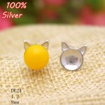 100% 925 Sterling Silver <b>Jewelry</b> Cat Shape Blank Stud Earrings Fit 9mm <b>Antique</b> Silver Base Tray for Diy JJewelry Accessories