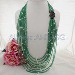 30″ 8 Strands Gree Stone White Pearl <b>Necklace</b> CZ Pendant