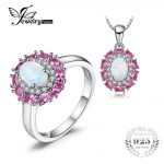 JewelryPalace Fashion Created White Opal Pink Sapphire Cluster Halo Ring Pendant Necklace <b>Jewelry</b> Sets 925 <b>Sterling</b> <b>Silver</b> New