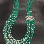 <b>Wedding</b> Party Long Necklace Green stone and fresh water pearl multi layers necklace fashion women <b>jewelry</b> solid silver with CZ