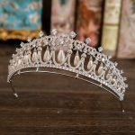 Paved CZ Tiara Bride Pearl Crown Zircon Diadema <b>Wedding</b> Hair Accessories <b>Jewelry</b> Mariage Tiaras Crowns Coroa De Novia WIGO1056