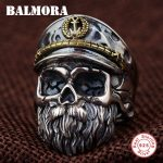 BALMORA Solid 925 Sterling Silver Skull & Beard Rings for Men Gift Punk Fashion Open Ring Thai Silver <b>Jewelry</b> Anillos SY22085