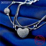 Love 925 Sterling <b>Silver</b> Women Charm <b>Bracelet</b> Fashion Heart AAA Zircon 100% <b>Silver</b> <b>Bracelets</b> Brand luxury Feminine Jewelry