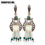 New Vintage Women Seed Bead Long Fance Hook Flower Earrings <b>Antique</b> Gold Color Tassels indian Earrings ethnic Wedding <b>Jewelry</b>