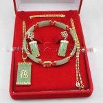 Prett Lovely Women's Wedding Green gem Inlay Link Bracelet earrings Necklace Pendant Set + Gift Box 5.23 silver-<b>jewelry</b> brinco