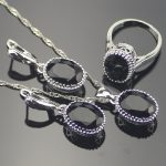 Trendy Oval Black Cubic Zirconia 925 Sterling Silver <b>Jewelry</b> Sets For Women Sliver Earrings/Pendant/Necklace/Rings Free Box