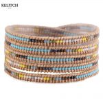 KELITCH <b>Jewelry</b> 1Pc Delicate Seed Beads Colorful Trendy Leather Chain 5 Wrap <b>Handmade</b> Bracelet Wholesale Top Package AZ5W-15056