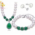 NYMPH Pearl Jewelry Set Real Fresh Water Pearl Necklace Pendant Bracelet <b>Earrings</b> Fine For Mother Green Agate T108
