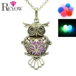 Aromatherapy <b>Jewelry</b> <b>Antique</b> Bronze Heart Owl Locket Noctilucence Glow in the Dark Beads Pendant Essential Oil Diffuser Necklace