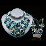 Lan palace fashion gold color <b>jewelry</b> rhinestone Austrian crystal <b>necklace</b> and earrings for wedding six colors free shipping