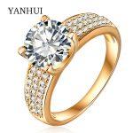 YANHUI Brand <b>Wedding</b> Rings For Women original Gold Filled Luxury 2 Carat CZ Diamant Zircon CZ Engagement Rings <b>Jewelry</b> YCRI0010
