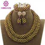 New Purple Mix Yellow Bridal Beads African <b>Jewelry</b> Sets Crystal Rope Chain Necklace Earrings Set <b>Handmade</b> Free Shipping WD883