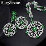 BlingZircons Green Cubic Zircon Women Big Round Drop Earrings And <b>Necklace</b> Bridal <b>Jewelry</b> Set For Nigerian Wedding Evening JS046
