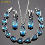 Lan Water Drop Sliver Planted Jewelry Sets Blue AAA Zircon For Necklace Pendant /Earring /<b>Bracelet</b> Wedding/Birthday/Party