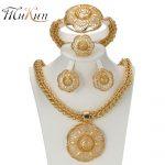MUKUN 2017 Latest Big Dubai Gold color <b>Jewelry</b> Sets Fashion Nigerian <b>Wedding</b> African Beads Costume Necklace Bangle Earring Ring