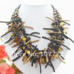 Pearl&Onyx&&Coral Branch&Shell <b>Necklace</b>