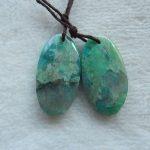Natural Chrysocolla Semi-precious stones, <b>Jewelry</b> accessories Gemstone earring bead.28x15x5mm,8.3g