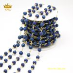 HOT Sale Chains FIndings,5Meters 6mm Wire Wrapped Blue Titanium Druzy Drusy Agates Round Beads Rosary Chain <b>Supplies</b> Charm ZJ122