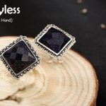 Uglyless Real 925 Sterling <b>Silver</b> Nature Blue Sand Stone Stud <b>Earrings</b> Retro Square Brincos Mysterious Marcasite Jewelry rhombu