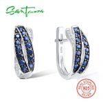 SANTUZZA Silver Earrings For Women 925 Sterling Silver Stud Earrings Blue White Cubic Zirconia brincos Party <b>Fashion</b> <b>Jewelry</b>