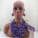 New Fashion African Beads <b>Jewelry</b> Set Chunky Beaded <b>Necklace</b> Set Purple Coral nigerian wedding beads <b>Jewelry</b> sets W13035