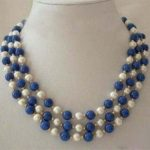 Fashion 3 rows white round pearl blue lapis lazuli chalcedony stone clasp diy beautiful necklace <b>jewelry</b> <b>making</b> 18-20 inch BV357
