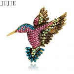 JUJIE Fashion Brooches Luxury Shiny Woodpecker Brooches Women <b>Antique</b> Gold Color Scarf Lapel Brooch Pins Animal <b>Jewelry</b> Gifts