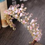 Trendy Pink Crystal Crown Tiaras Princess Wedding Headpiece Hair <b>Jewelry</b> Baroque Crown for Bride Girl Rhinestone Crown HG144