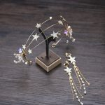 Trendy Gold Headbands Star Crystal Tiara Crown Hairbands Earring Sets For Bride Wedding Women <b>Jewelry</b> <b>Handmade</b> Hair Accessories