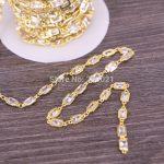 Finding DIY 3 Meter Cubic Zirconia Brass Chain,4x6mm Rectangle Beaded Chain,For <b>Jewelry</b> <b>Making</b>