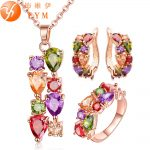 FYM Rose Gold Color <b>Jewelry</b> Sets for Women Mona Lisa Colorful Crystal Necklace Ring Earrings Multicolor <b>Jewelry</b> Set Wholesale