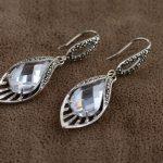 S925 sterling <b>silver</b> Thai <b>silver</b> Marcasite white zircon crystal <b>earrings</b> bright personality delicate sweet cute temperament