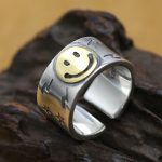 Smile Face Solid Silver 925 Thick Cuff Band Rings Men <b>Handmade</b> 925 Sterling Silver <b>Jewelry</b> Man Cool Thai Silver Male Rings 13.6g