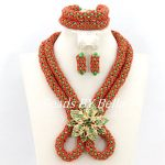 Trendy African Beads <b>Jewelry</b> Set Women Costume <b>Jewelry</b> Set <b>Handmade</b> Crystal Beads <b>Jewelry</b> Wedding Set Free Shipping ABY136
